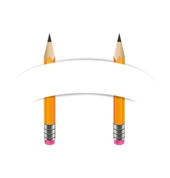 Two graphite pencils and paper banner vector image vector image