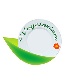 Vegetarian plate icon vector image