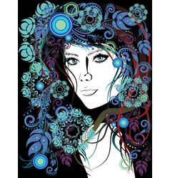 Winter Girl with Floral12 vector image