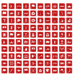 100 national flag icons set grunge red vector