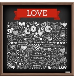 Chalk board romantic doodle set vector