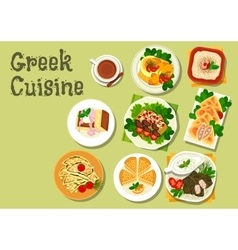 Greek cuisine lunch dishes for menu design vector