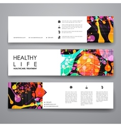 Set of modern design banner template in healthcare vector