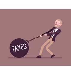 Businessman dragging a weight taxes on chain vector