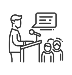Public speaker - line design single isolated icon vector