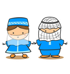 happy muslim kid in tradidtional costume vector image
