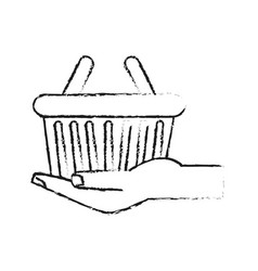 Hand holding shopping basket icon image vector