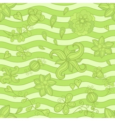 Seamless pattern doodle flowers green mosaic vector