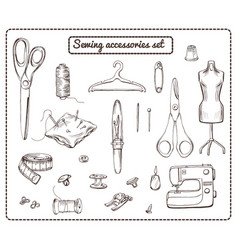 Hand drawn tailoring elements collection vector