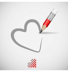 Pencil and heart vector