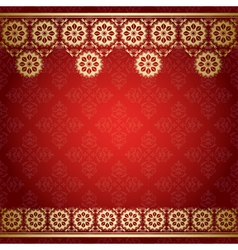 red background with golden floral border vector image