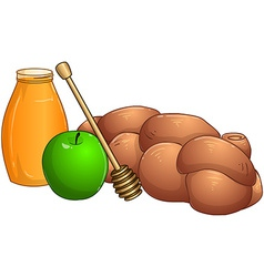 Honey jar apple and chala for rosh hashanah vector