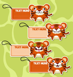 Four cute cartoon tigers stickers vector