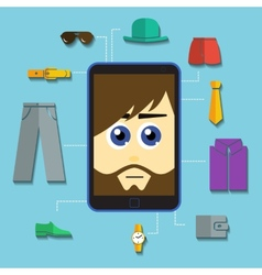 Phone man shopping vector