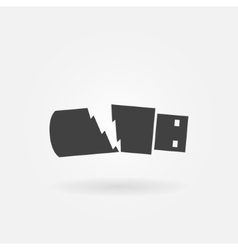 Broken usb flash drive icon vector