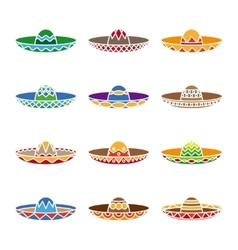 Mexican sombrero color flat icons set vector
