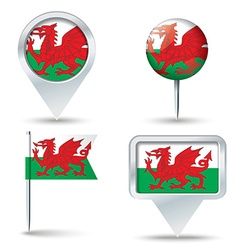Map pins with flag of wales vector