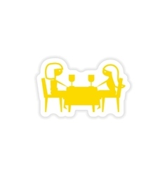 Icon sticker realistic design on paper dinner vector