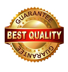 Best quaiity golden label with ribbon vector