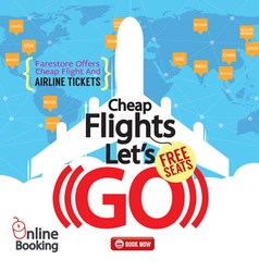 Cheap flights advertising banner vector