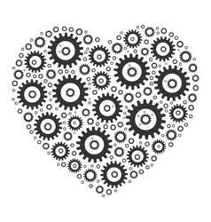 Heart shape mosaic of cog wheels vector image