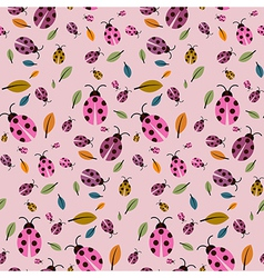 Abstract retro pink background with ladybirds and vector