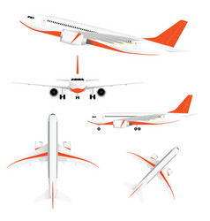 airplane with two motors and orange color vector image vector image