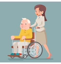 Attendant nurse caring for elderly wheelchair old vector