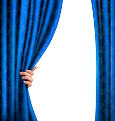 Background with blue velvet curtain and hand vector image vector image