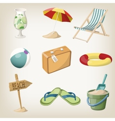 Beach items set Travel vacation items vector image