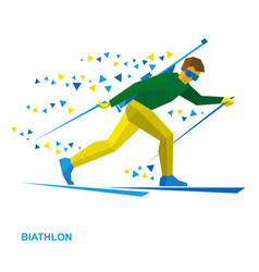 Biathlon cartoon biathlete with a rifle vector
