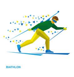 biathlon cartoon biathlete with a rifle vector image