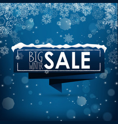 big winter sale banner over blue background vector image vector image