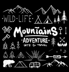 Black and white camping collection of icon made vector