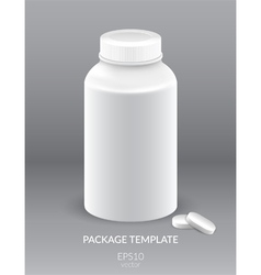 Blank plastic packaging bottle with cap for pills vector