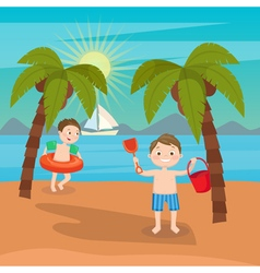 Children sea vacation boys playing on the beach vector