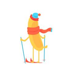 Cute banana wearing scarf and hat skiing cartoon vector