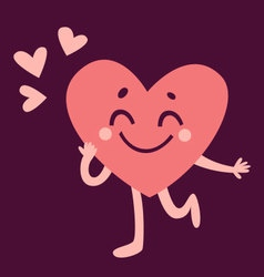 Cute heart character in love vector