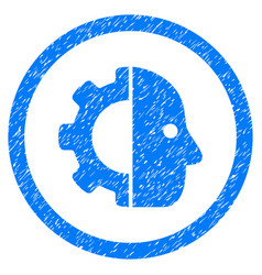 Cyborg rounded grainy icon vector