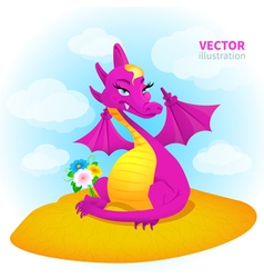 dragon in desert vector image vector image