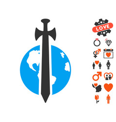 earth military protection icon with lovely bonus vector image vector image