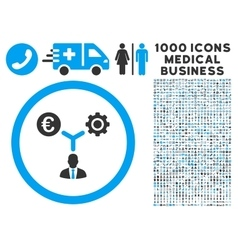 Euro Financial Development Icon with 1000 Medical vector image vector image