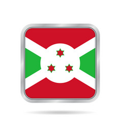 flag of burundi shiny metallic gray square button vector image vector image