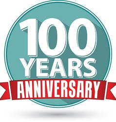 Flat design 100 years anniversary label with red vector image vector image