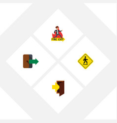 Flat icon exit set of emergency entry direction vector