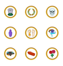 Funeral icon set cartoon style vector