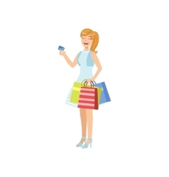 Girl Smiling Paying With Credit Card In Shopping vector image vector image