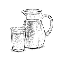 hand drawn milk jug and glass of milk vector image vector image