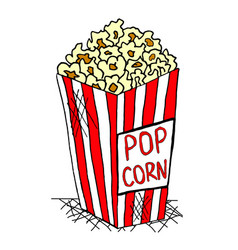 Hand drawn pack of pop corn junk food vector