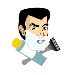 Man with shaving foam razor and tube shaving gel vector